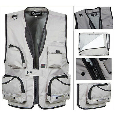 Summer Men Breathable Mesh Vest with Many Pockets Tactical Detachable Waistcoat