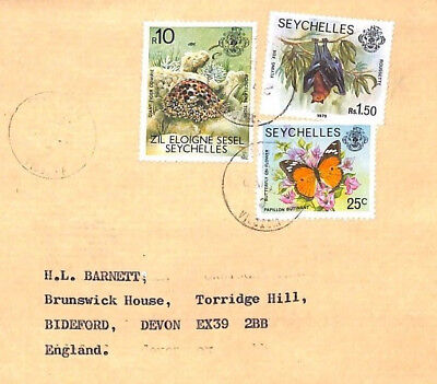 XX106 1980 SEYCHELLES Victoria Mahe 10R HIGH VALUE Airmail Cover SEA SHELLS BATS