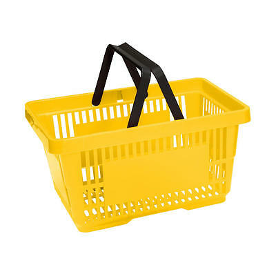 Plastic Shopping Baskets Pack of 5 Bright Yellow Shopping Baskets
