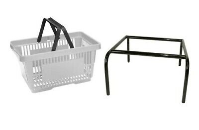Grey Plastic Shopping Baskets Pack of 5 with free Black Stacker 20 Ltr