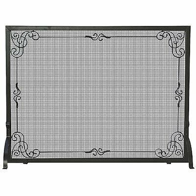 UniFlame Single Panel Black Wrought Iron Screen with Decorative Scroll