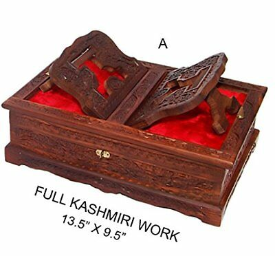 Holy foldable Book Stand Wooden Handcarved Rehal Box For Quran, Bible, Gita,