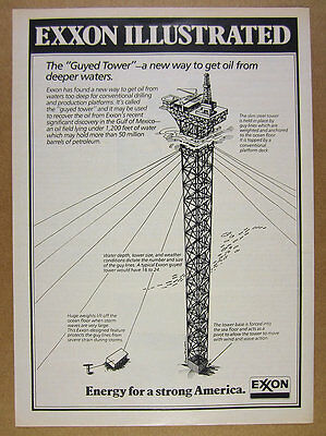 1978 Exxon Guyed Tower Deep Water Oil Drilling drawing art vintage print Ad