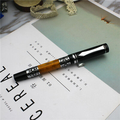1pcs metal Hollow pattern bright black Fountain Pen write black New