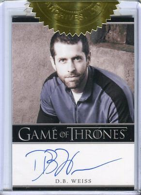 GAME OF THRONES Season 2 Three Case Incentive Card Autograph D. B. Weiss