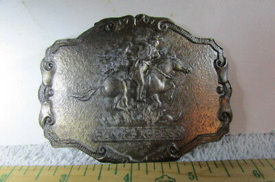 Belt Buckle Brass Pony Express Mail Delivery With Horse & Rider