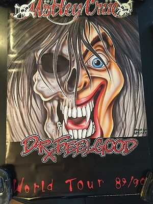 MOTLEY CRUE DR. FEELGOOD World Tour 89/90 CONCERT POSTER VINCE NEIL TOMMY LEE