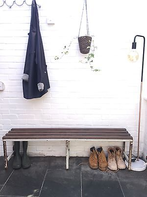 Vintage 20th Century Antique Industrial Wood Topped Bench School Gym