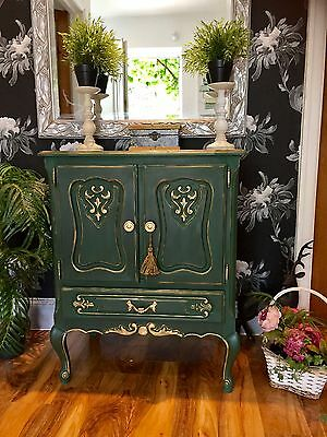 Carved Vintage French Hallway Drinks TV Cabinet Linen Cupboard Annie Sloan Green