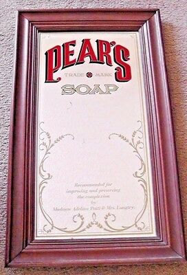 """Vintage Pears Soap Ad Mirror Sign Wood Framed 29"""" x 17"""""""