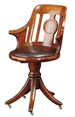 Designer Starbay Normandie Desk / Captain's Chair Swivel Base Solid Wood Leather