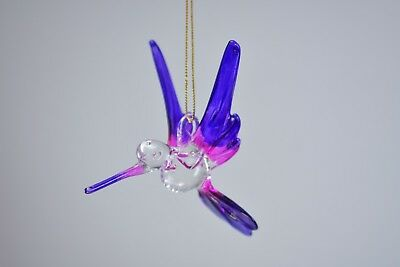Hanging Humming Bird Purple Pink Figurine of Blown Glass Crystal