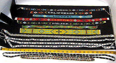 13-Vintage Handcrafted NATIVE AMERICAN INDIAN BEADED STRIP'S FOR BUCKSKIN,ETC.!