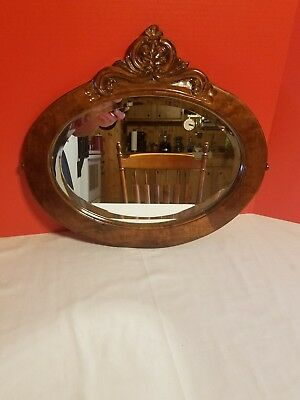 Oval Solid Wood Hanging Beveled Mirror