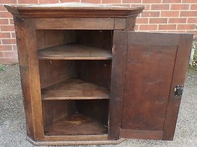 George III antique solid oak country shelved hanging single corner cupboard &key