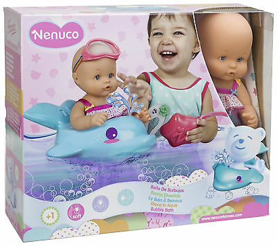 Nenuco Bubble Bath Baby Doll Girl Childrens Toy Swim Suit Goggles Dolphin Float