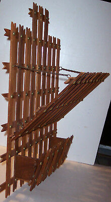 vintage hand made wooden brass tack magazine letter hanging wall unit rack