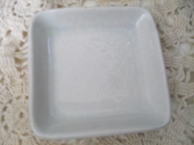 """Antique 1890 WHITE BUTTER PAT~J&G MEAKIN~IRONSTONE CHINA  England  2 3/4"""" SQUARE"""