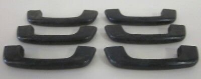 Set Of 6 Vintage Black Plastic Art Deco Drawer Pulls Handles