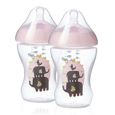 Tommee Tippee Girls Pink Ultra Feeding Bottles  260ml  x 2  bpa free