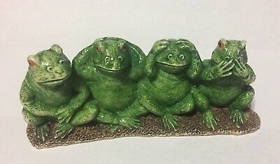 One Set of 4 See No Evil Frogs sitting together - Figurine, See, Speak, Hear, Do