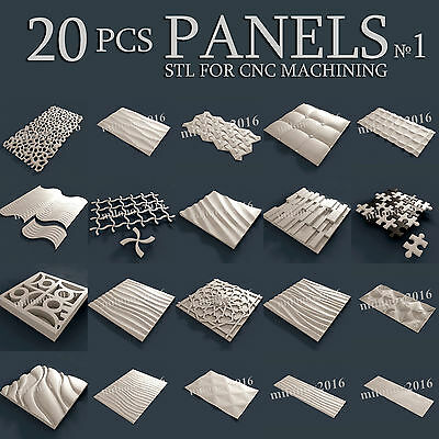 3d stl Model relief for CNC Router Artcam 20 pcs Pack №1