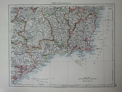 1897 Victorian Map ~ Ireland South East Waterford Wexford Tipperary