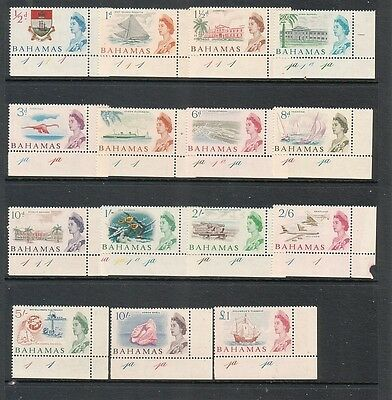 BAHAMAS....  1965 pictorials mint set of 15... Corner stamps with plate numbers