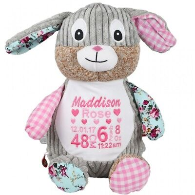 Embroidered Bunny Teddy Bear - Personalised Newborn Baby Gift