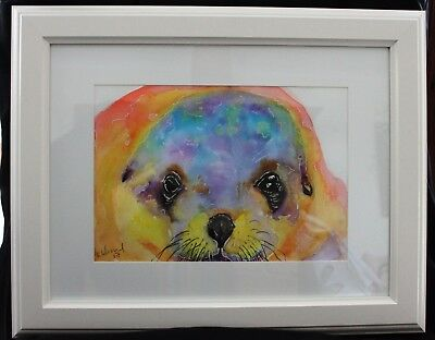 Seal Eyes in Frame ready to hang