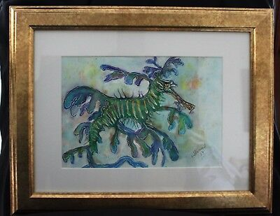 Blue Leafy Sea Dragon in Frame ready to hang