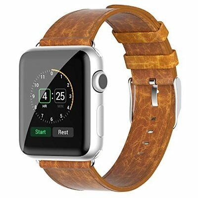 Watch Band for Apple 42mm Genuine Leather Classic Buckle Bracelet Wrist Brown