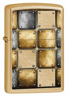 Zippo Riveted Squares Windproof Lighter, Gold Dust