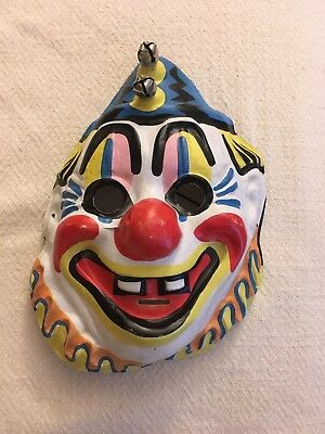 Vintage Halloween Mask, Clown with Bells,1950's-60's