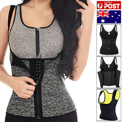 AU Hot Sweat Neoprene Body Shaper Corset Slimming Waist Trainer Cincher Vest Zip