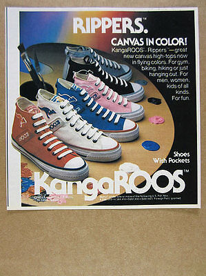 1984 KangaROOS Roos RIPPERS Canvas Hi-Top Shoes color photo vintage print Ad
