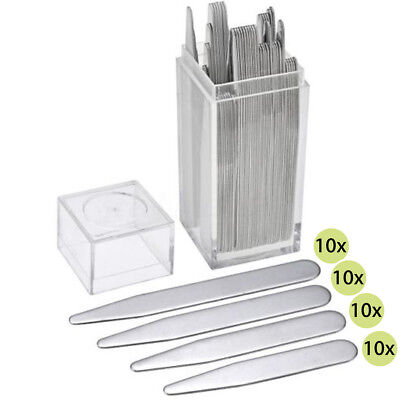 40pc Stainless 4 Sizes Collar Stays Bone Stiffeners in Plastic Box Shirt Gift AU