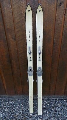 "VINTAGE Wooden 58"" WHITE Skis with Bindings and Signed CONTINENTAL"