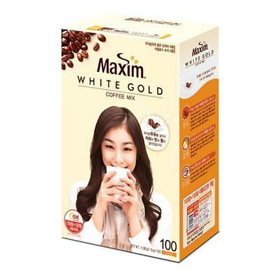 Korean Instant Coffee Mix  Maxim White Gold 100 Sticks in 1 Pack Flavored V_e