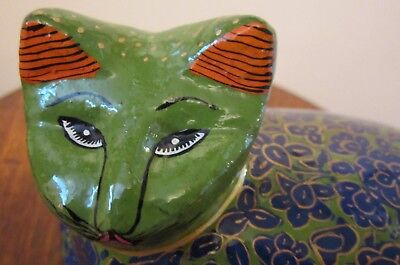 Unique Hand Carved Wood Cat Trinket Box ~ Made In Nepal ~ Green & Blue Floral ~