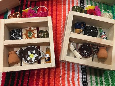 Miniature Dish Shelf With Dishes / Minature Trastero Magnet Mexican Folk Art