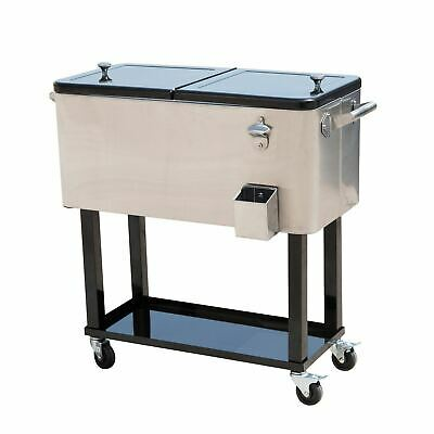 Stainless Steel 80 Qt Ice Chest Rolling Party Cooler Portable Dual Lid Outdoor