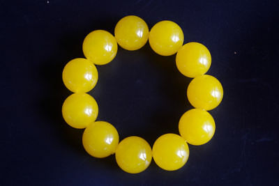 20mm Large granule natural yellow jade handmade jewelry jade bracelets