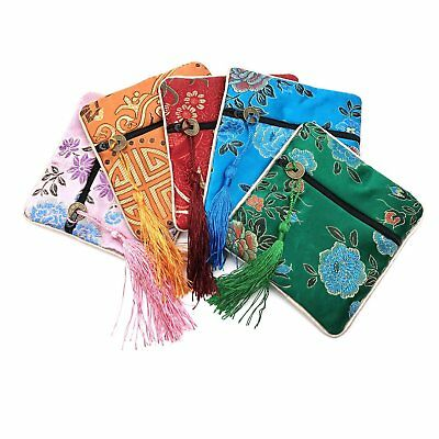 5 Pcs Chinese Silk Brocade Embroidered Jewelry Pouch Bag Coin Purses Gift Bag 3
