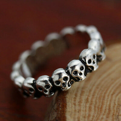 Biker Goth Vintage Antique Silver Stacking Skull Band Ring Men's Gothic Jewelry