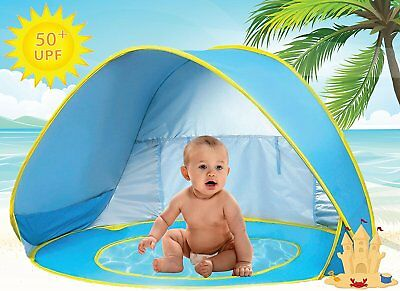 Baby Beach Tent Pool UV Protection Sun Shelter Pop Up for Kids - Blue Yellow