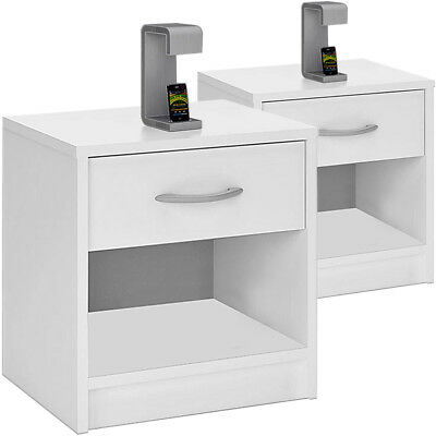 2x Bedside Table Set White Cabinet Nightstand Bedroom Storage Drawer Home New
