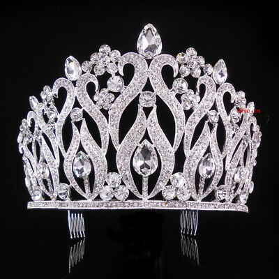 10cm High Large Full Crystal Wedding Bridal Party Pageant Prom Tiara Crown Combs