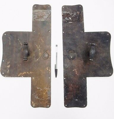 ART NOUVEAU  BRASS / copper mix  magnificent door handles   ANTIQUE ORIGINAL