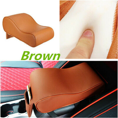 Car Armrest Arm Rest Storage Console Box Top Mat Liner Pad Cover Cushion Brown